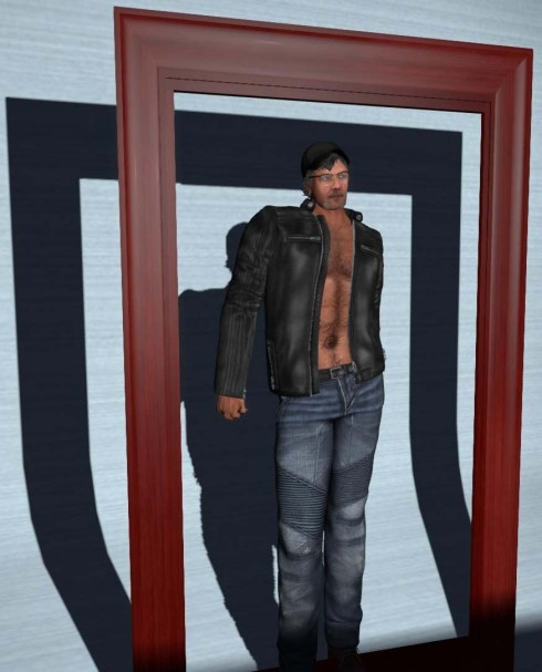 Racing Jacket no shirt shown with Moto jeans.